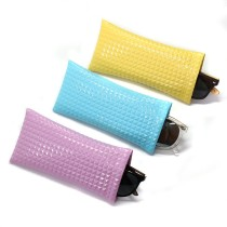 18 * 9CM sac de lunettes de soleil en cuir PU bouche de balle portable étanche lunettes de stockage de sac