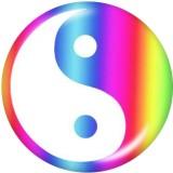 Botones a presión de vidrio con impresión de yin y yang de 20 mm