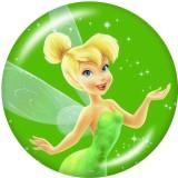 Botones a presión de vidrio con estampado de elfos de niña de dibujos animados de 20 mm