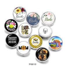 20MM  Flower  MOM   Print   glass  snaps buttons