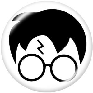 Botones a presión de vidrio con estampado de yin y yang de dibujos animados de 20 mm