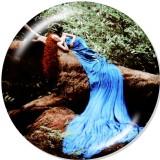 Botones a presión de vidrio con estampado de baile de niña de 20 mm