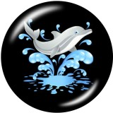 Botones a presión de vidrio con estampado de delfines y gatos de 20 mm