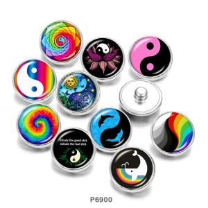 Стеклянные кнопки с принтом инь и янь 20 мм