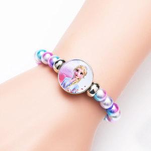 1 пуговица с застекленной стеклянной пряжкой сказочной принцессы с яркими бусинами, эластичный браслет, fit18 и 20 мм, ювелирные изделия