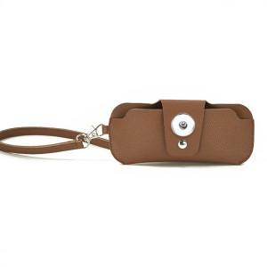 16.5 * 7 см Модный двусторонний кожаный защитный чехол для очков из ПВХ, портативный кожаный зажим для зеркала, подвесная сумка для очков на шее, защитный чехол для очков с защитой от потери, подходит для ювелирных изделий с кнопками 18 и 20 мм