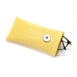 18 * 9 CM bolsa de gafas de sol PU cuero bala boca portátil gafas impermeables bolsa de almacenamiento ajuste 18 y 20 mm broche de presión botón sanp joyería