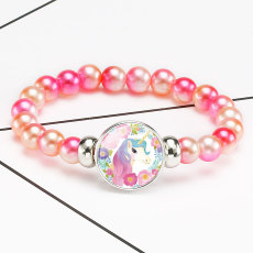 1 buttons With Unicorn dream glass buckle Colorful beads Elasticity  bracelet fit18&20MM  snaps jewelry