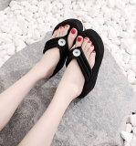 2 botones Zapatos de mujer, pantuflas de mujer, chanclas de mujer, sandalias de niña, suelas gruesas de 6.5 cm de altura para un ajuste de playa de verano