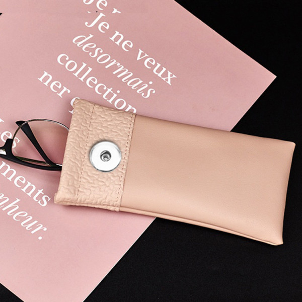 18 * 9 CM Bolsa de cuero para gafas con boca de bala Bolsa de gafas portátil personalizada personalizada Bolsa de almacenamiento de gafas a prueba de polvo y arañazos para joyería de 18 y 20 mm con botón a presión sanp