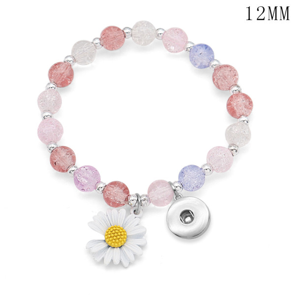 1 buttons With Imitation Sun flower crystal daisy Elasticity  bracelet fit18&20MM  snaps jewelry