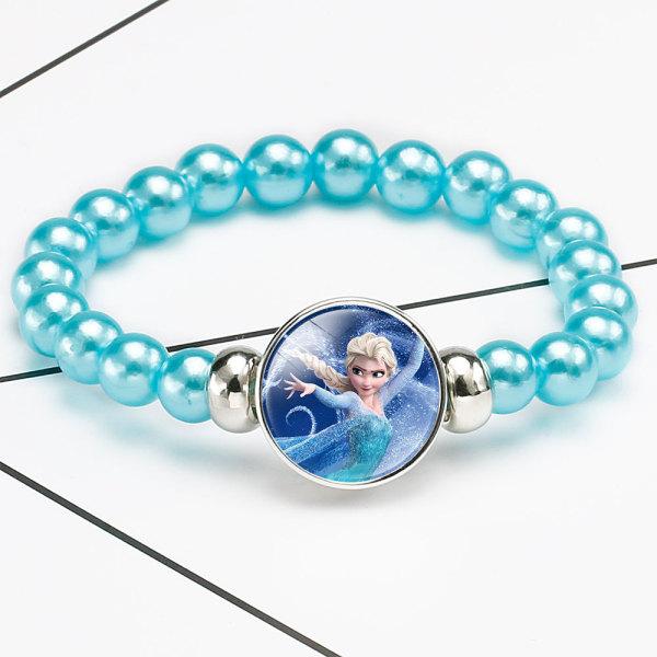 1ボタン冷凍おとぎ話姫ガラスバックルカラフルビーズ伸縮性ブレスレットfit18&20MMスナップジュエリー
