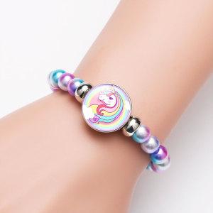 1 пуговица со стеклянной пряжкой в виде единорога, цветные бусины, эластичный браслет, подходят 18 и 20 мм, ювелирные изделия с защелками