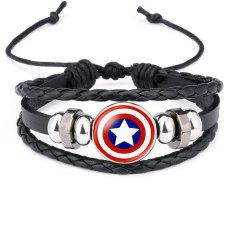 Marvel Superhelden Abzeichen Captain America Superman Spiderman Flash Hulk Edelstein Leder Armband