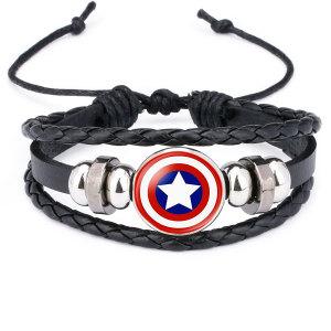 Marvel Superhero Badge Capitán América Superman Spiderman Flash Hulk Pulsera de cuero con piedras preciosas
