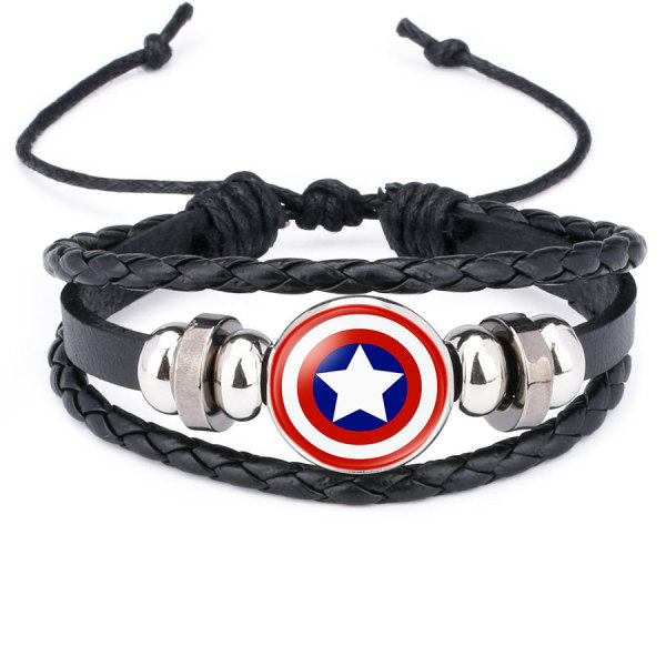 Marvel Superhero Badge Capitán América Superman Spiderman Flash Hulk Pulsera de cuero con piedras preciosas