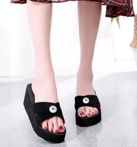 Zapatos de niña de 2 botones, pantuflas de mujer, chanclas de mujer, sandalias de mujer, suelas gruesas de 6.5 cm de alto para un ajuste de playa de verano