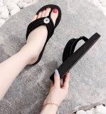 Mädchenschuhe mit 2 Knöpfen, Hausschuhe für Frauen, Flip-Flops für Frauen, Sandalen für Frauen, 3 cm hohe, dicke Sohlen für Sommerstrand-Fit18- und 20-mm-Druckknopfschmuck