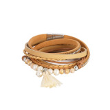 Pulsera de cuero multicapa con borla de perlas