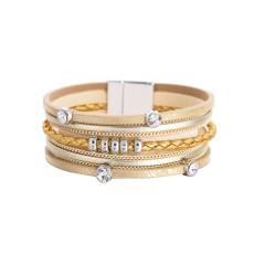 Mehrschichtiges Armband Damen geometrische Kette Temperament Leder Schnalle Armband