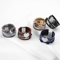 Mehrschichtiges Liebesperlenkristall-Lederarmband Damen Böhmisches ethnisches Armband