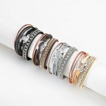 Damenarmband Mehrschichtiges gewebtes Ringzubehör aus Leder im europäischen und amerikanischen Ethno-Lederarmband
