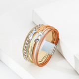Pulsera para mujer Pulsera de cuero con accesorios de anillo tejido multicapa de estilo étnico europeo y americano
