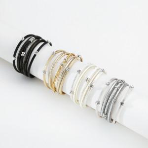 Pulsera de múltiples capas para mujer pulsera de hebilla de cuero de temperamento de cadena geométrica
