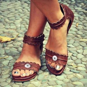 2 botones Sandalias de encaje para mujer Sandalias de verano de cuero con broches de presión