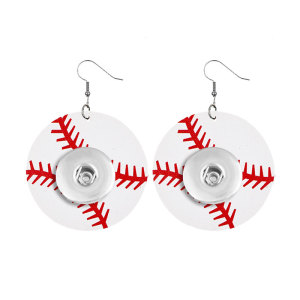 Baseball basketball and other ball sports Leather snap earring fit 20MM snaps style jewelry