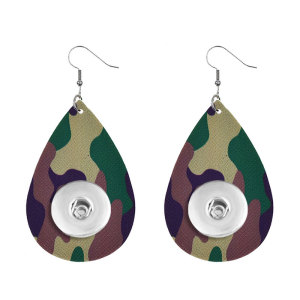 Camouflage Leather snap earring fit 20MM snaps style jewelry