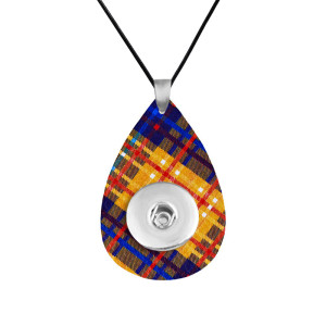 Plaid Leather necklace  chain adjustable  fit 20MM chunks snaps jewelry