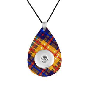 Cadena de collar de cuero a cuadros ajuste ajustable 20 mm trozos broches joyería