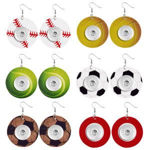 Basket-ball de baseball et autres sports de balle Boucle d'oreille en cuir à pression fit 20MM bijoux de style à pression