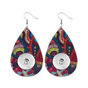 Retro pop pattern Leather snap earring fit 20MM snaps style jewelry