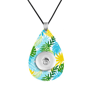 Tropical rain forest wind Leather necklace  chain adjustable  fit 20MM chunks snaps jewelry