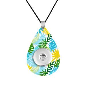 Cadena de collar de cuero de viento de bosque tropical, ajuste ajustable, trozos de 20 mm, broches de presión, joyería