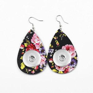 Flores Pendiente a presión de cuero apto para joyas de estilo broches de 20 mm