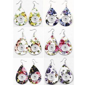 Flowers Leather snap earring fit 20MM snaps style jewelry