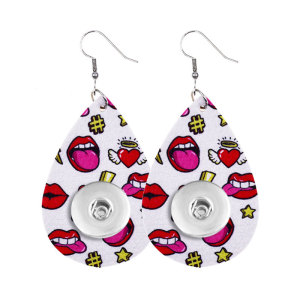 Valentine's Day Love Leather snap earring fit 20MM snaps style jewelry Drop shape