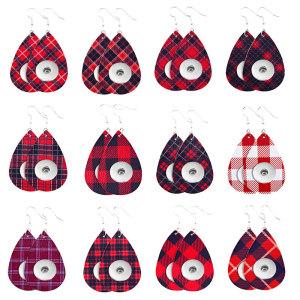 Boucle d'oreille en cuir à carreaux de Noël fit 20MM snaps style bijoux en forme de goutte