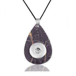 Cadena de collar de cuero de mármol ajuste ajustable 20MM trozos broches de joyería