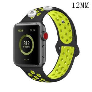 38 / 40MM Aplicable a Apple Watch Apple Watch Correa de silicona deportiva transpirable de dos colores de 6 generaciones iwatch6 se ajusta a dos trozos de 12 mm