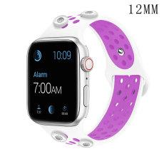38 / 40MM Applicable à la montre Apple Apple Watch Bracelet en silicone sport respirant bicolore de 6 génération iwatch6 convient à quatre morceaux de 12 mm