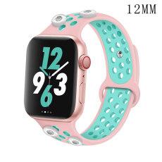 42 / 44MM Applicable à la montre Apple Apple Watch Bracelet en silicone sport respirant bicolore de 6 génération iwatch6 convient à quatre morceaux de 12 mm