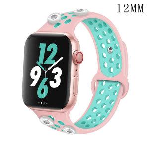 42 / 44MM Aplicable a Apple Watch Apple Watch Correa de silicona deportiva transpirable de dos colores de 6 generaciones iwatch6 se ajusta a cuatro trozos de 12 mm