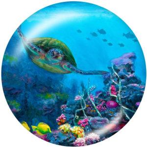 20MM Meeresschildkröte Drucken Sie die Druckknöpfe aus Glas