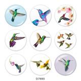 20MM   bird   Print   glass  snaps buttons