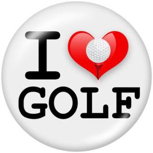 Botones a presión de vidrio con estampado I Love golf de 20 mm