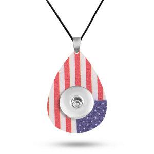 Amerikanische Flagge Ball Sport Leder Halskette Kette verstellbare Passform 20MM Brocken schnappt Schmuck
